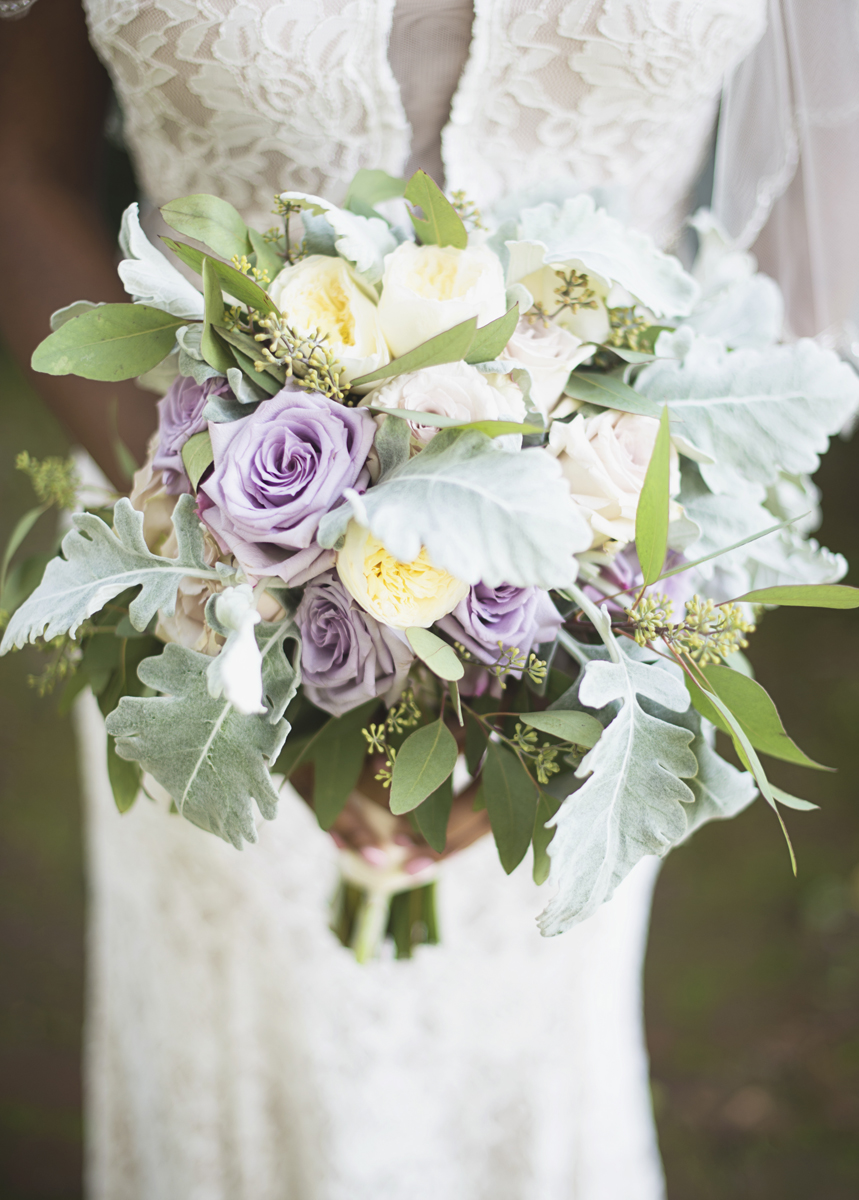 Elegant Lavender Plantation Elopement | Blush and lavender rose with greenery bridal bouquet