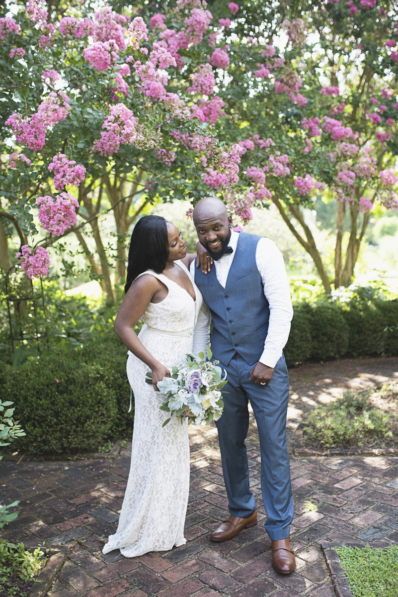 Elegant Lavender Plantation Elopement | Bride + groom portraits