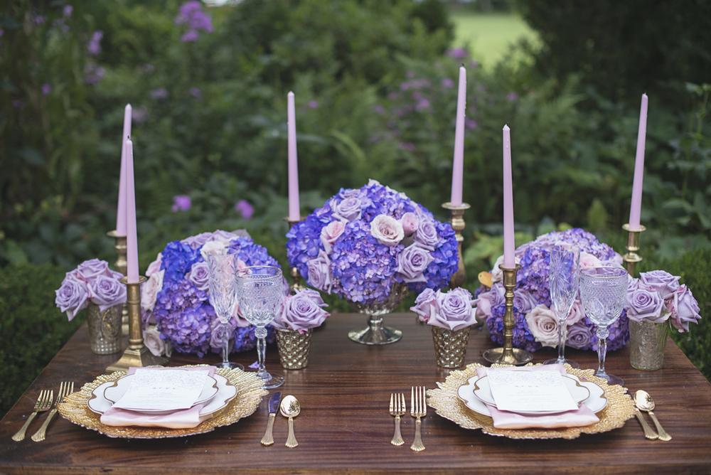 Elegant Lavender Plantation Elopement | Lush lavender and rose sweetheart table