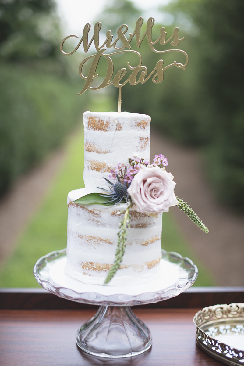 Elegant Lavender Plantation Elopement | White and blush naked cake with gold calligraphy cake topper