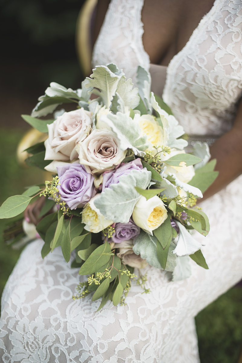 Elegant Lavender Plantation Elopement | Eucalyptus, blush rose, lavender rose, and white rose bridal bouquet