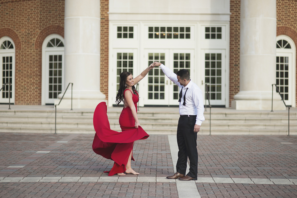 High Fashion Red Dress Engagement Session