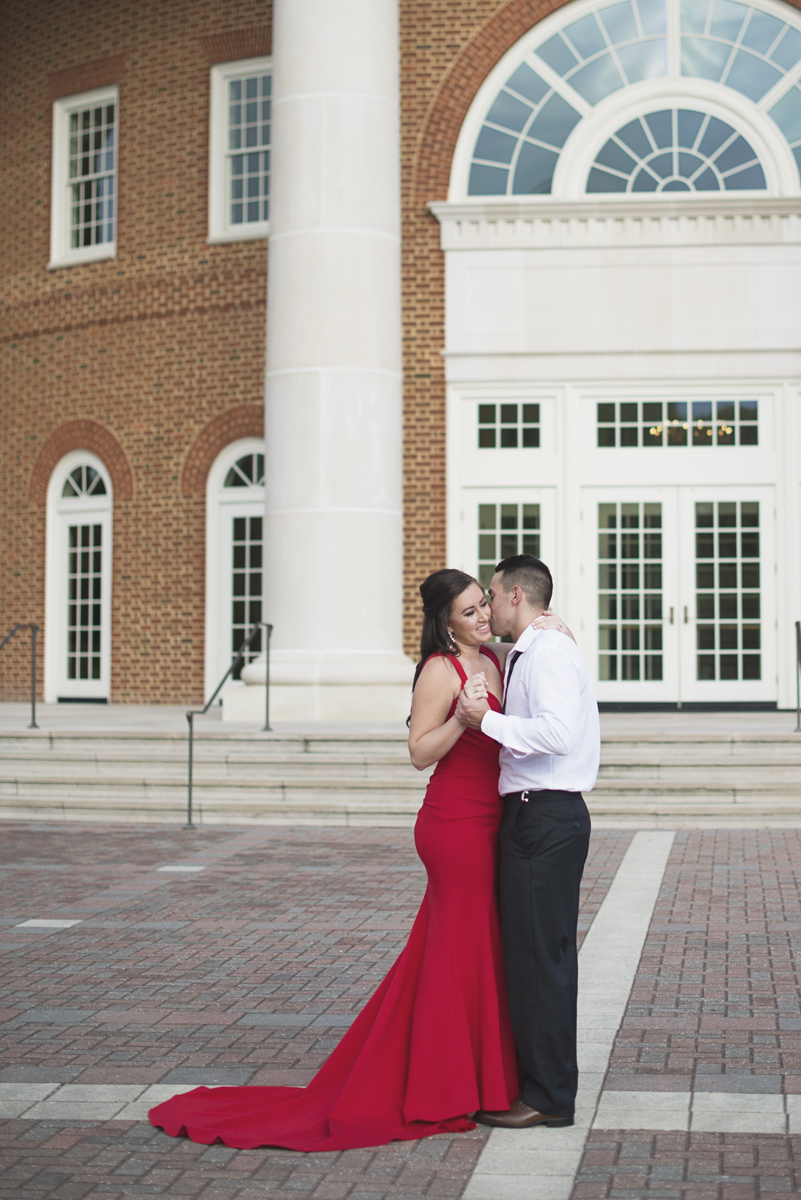 High Fashion Red Dress and Bowtie Engagement Session