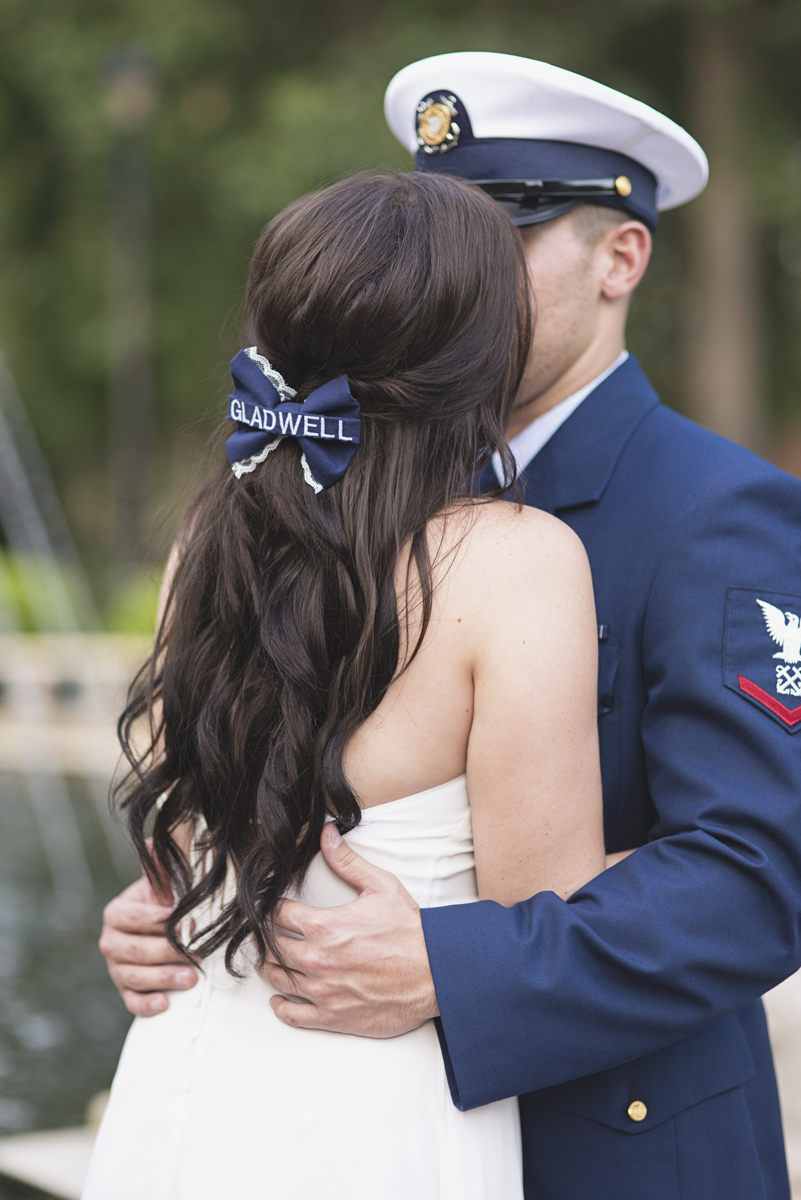 Coast Guard Military High Fashion Engagement Session with Navy Hair Bow
