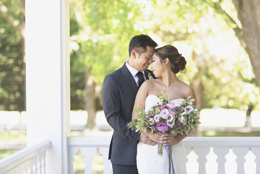 Elegant Southern Style Mansion Wedding | Gray and Lavender | Bride and Groom Portraits