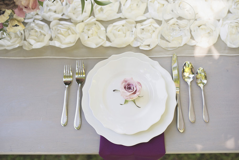 Elegant Southern Style Mansion Wedding | Gray and Lavender | Purple Rose Place Setting