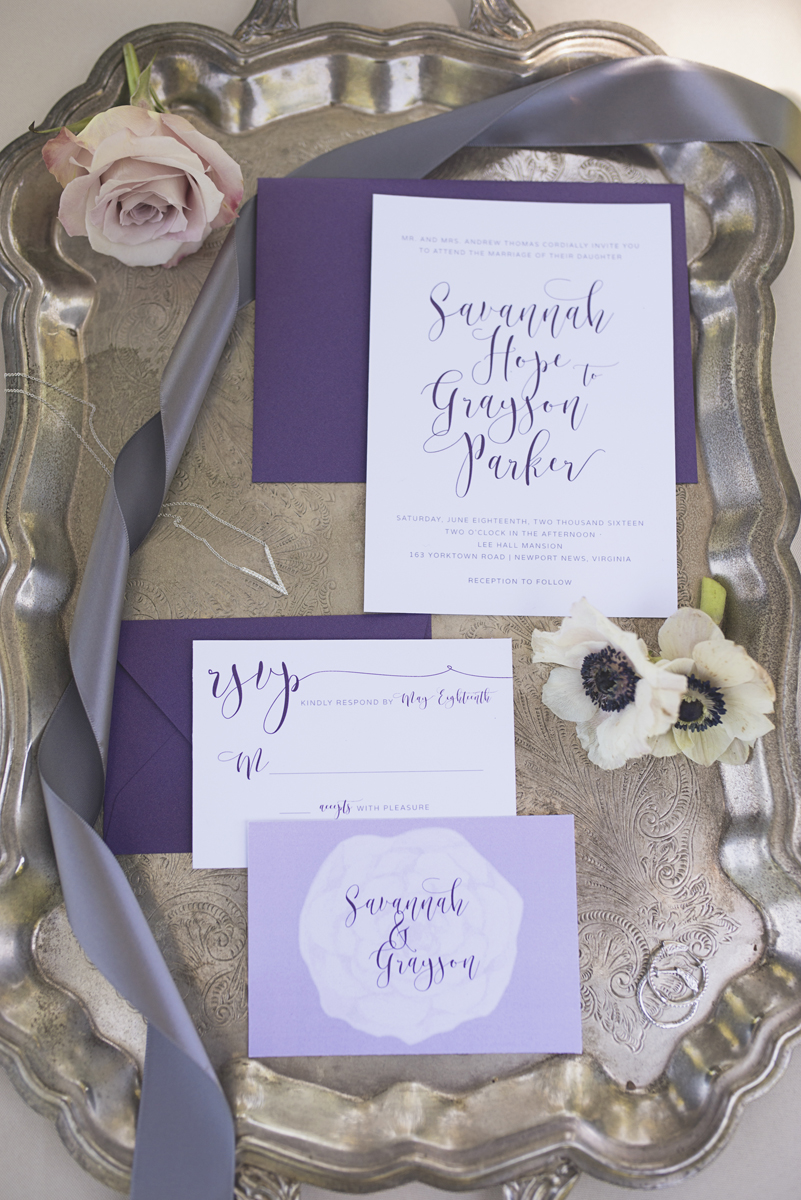 Elegant Southern Style Mansion Wedding | Gray and Lavender | Purple Elegant Invitations