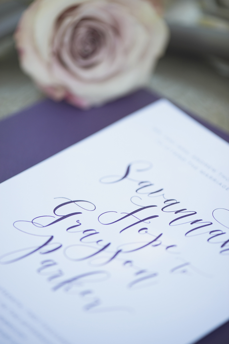 Elegant Southern Style Mansion Wedding | Gray and Lavender | Elegant Purple Invitations