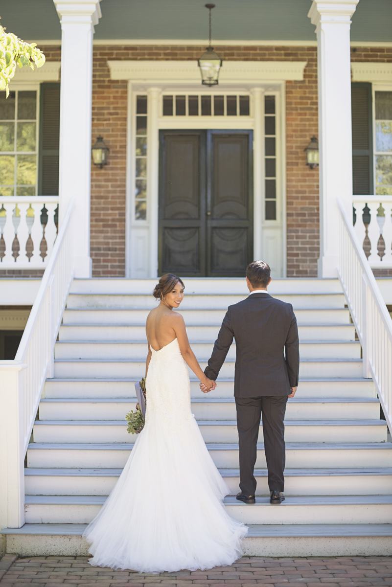 Elegant Southern Style Mansion Wedding | Gray and Lavender | Bride + Groom Portrait on Staircase