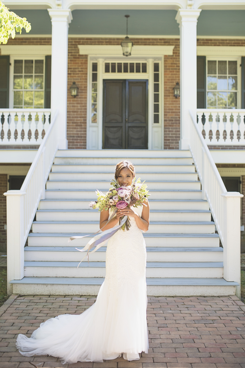 Elegant Southern Style Mansion Wedding | Gray and Lavender | Bridal portrait