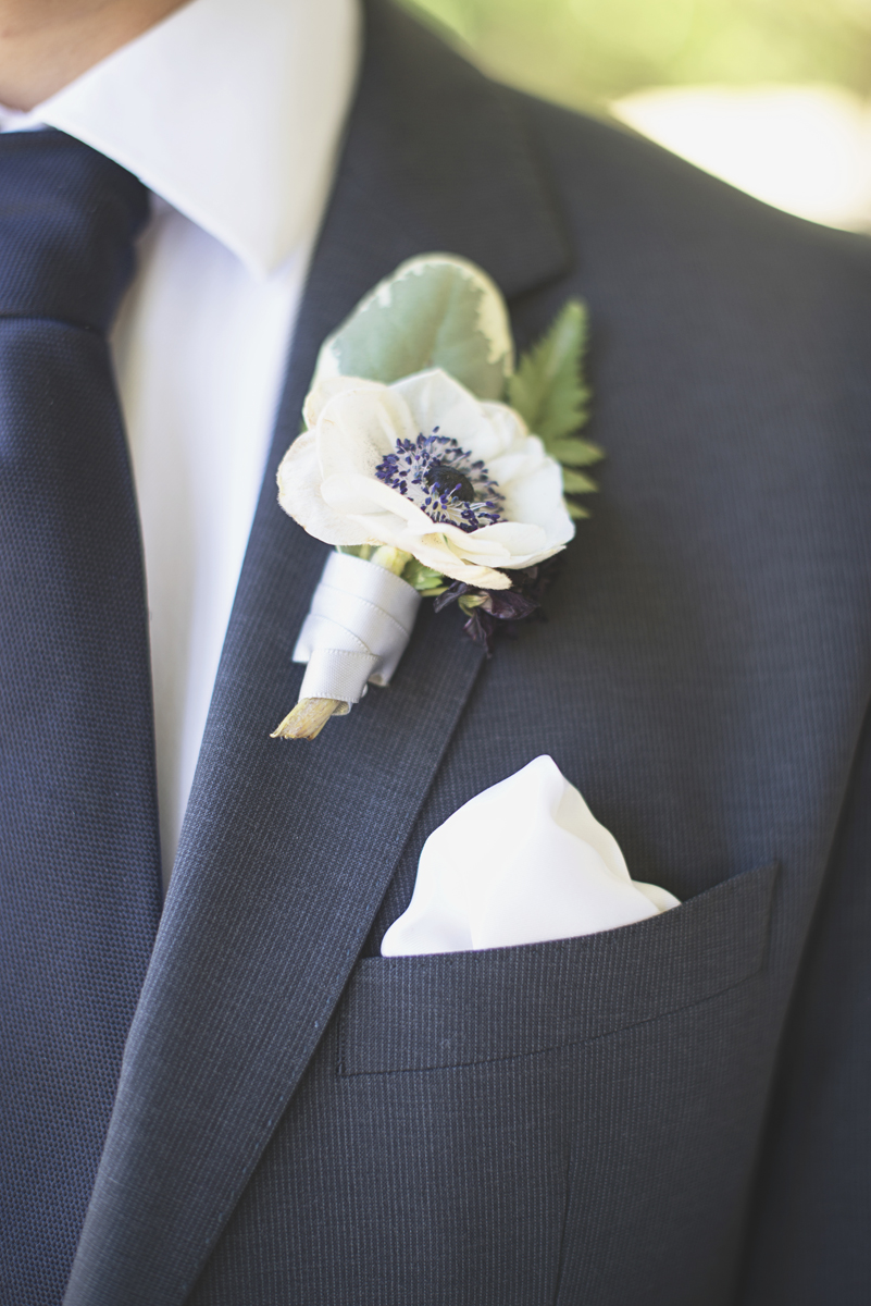Elegant Southern Style Mansion Wedding | Gray and Lavender | Poppy Boutonniere