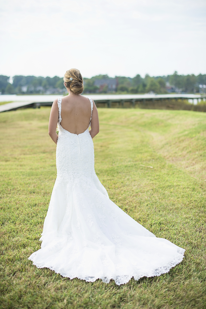 Nautical Navy Virginia Wedding   Navy Blue Wedding Colors   Bride back of dress shot