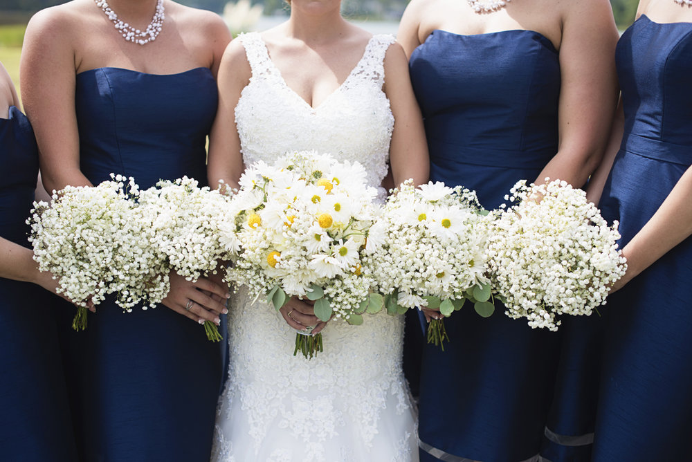 Nautical Navy Virginia Wedding | Navy Blue Wedding Colors | Navy Blue Bridesmaid Dresses with White Daisy and Baby's Breath Bouquets
