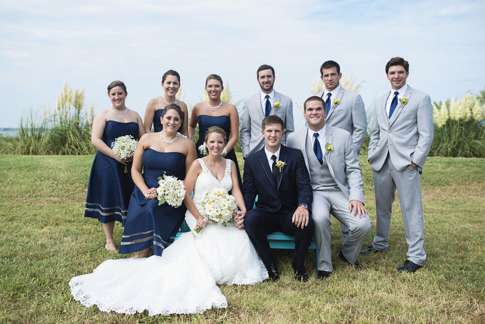 Nautical Navy Virginia Wedding | Navy Blue Wedding Colors | Navy Blue and Gray Bridal Party with Adirondack Chairs