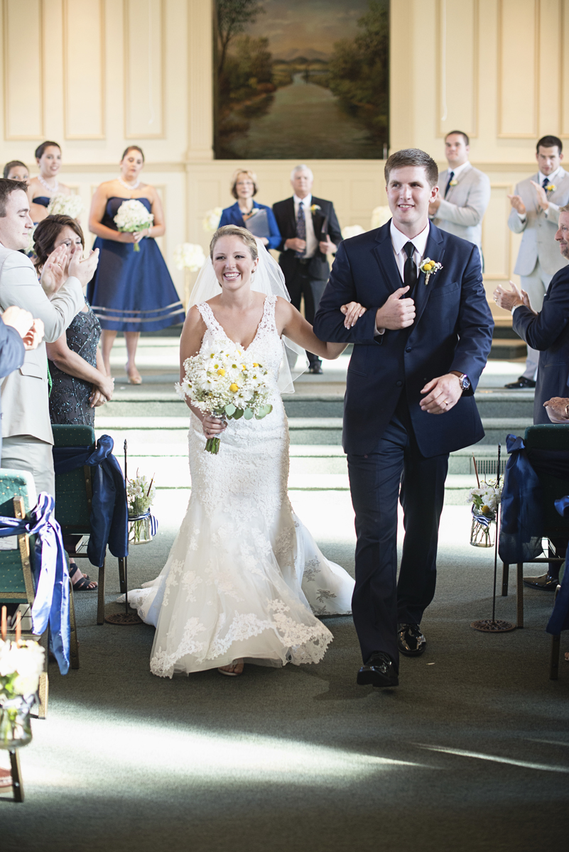 Nautical Navy Virginia Wedding | Navy Blue Wedding Colors | Bride and groom recessional