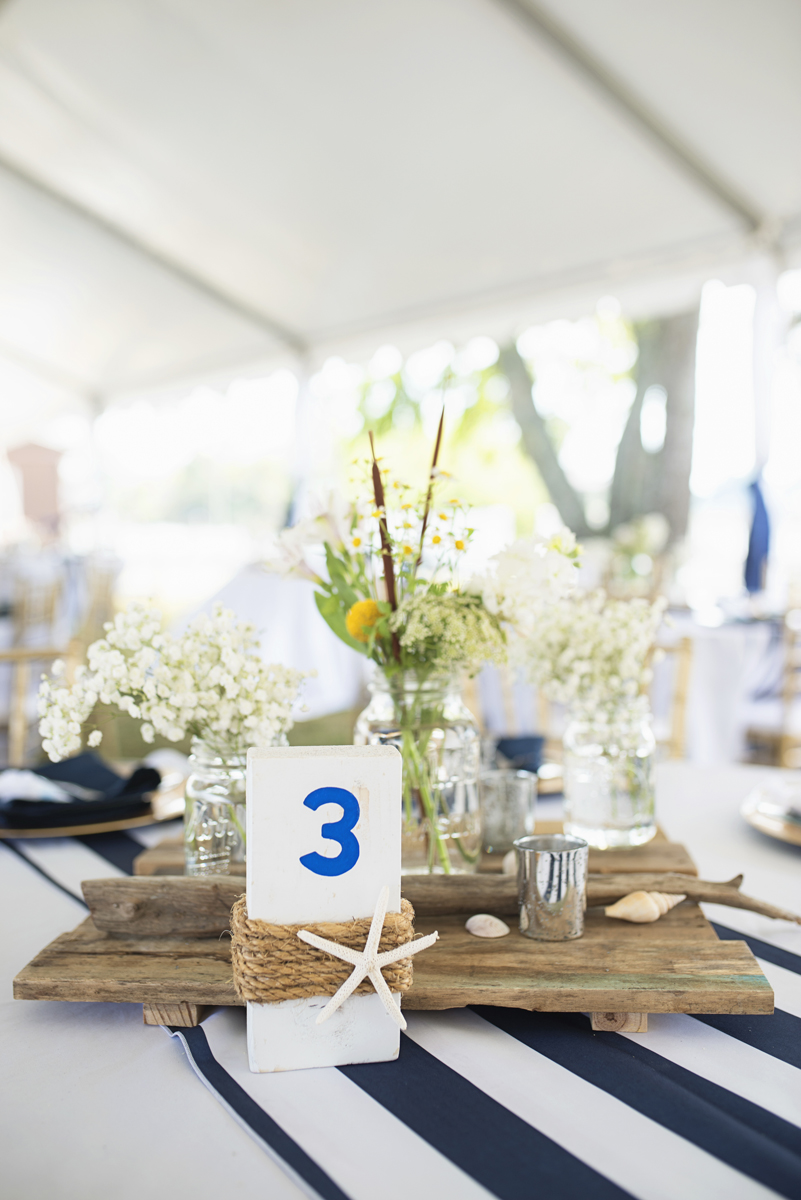 Nautical Navy Virginia Wedding | Navy Blue Wedding Colors | Starfish and board nautical reception centerpiece
