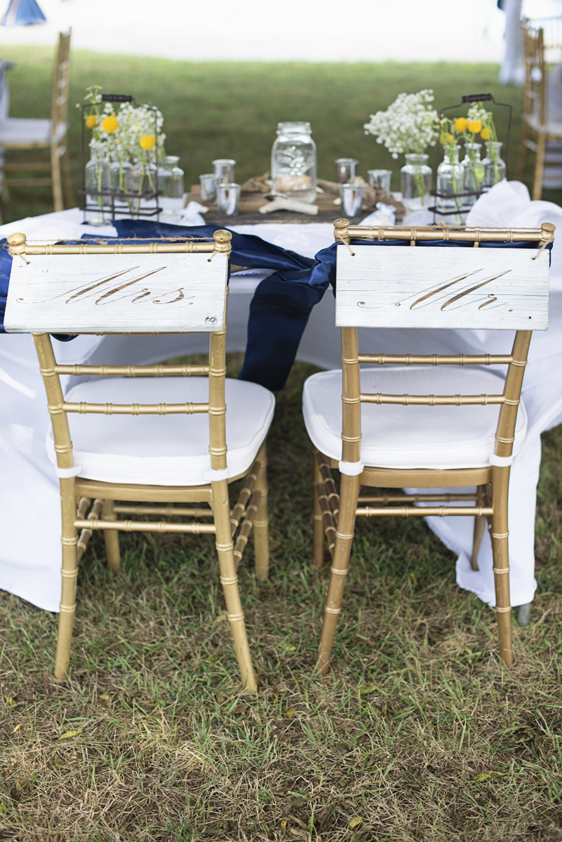 Nautical Navy Virginia Wedding | Navy Blue Wedding Colors | Mr and Mrs Gold Chiavari chair signs