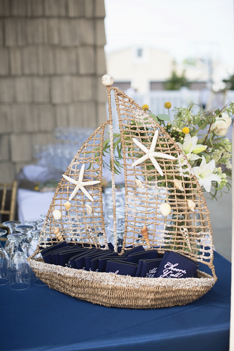 Nautical Navy Virginia Wedding | Navy Blue Wedding Colors | Seashell boat with can koozies