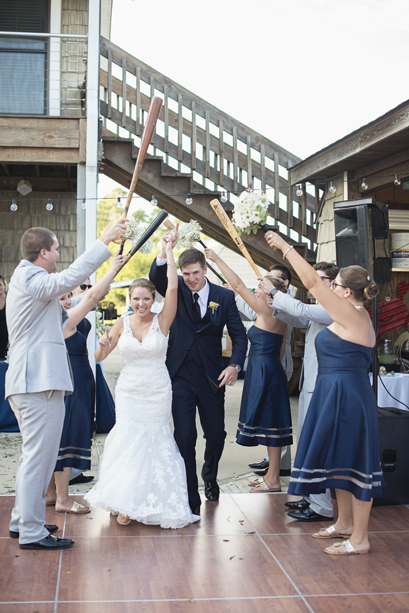 Nautical Navy Virginia Wedding | Navy Blue Wedding Colors | Baseball bat reception entrance