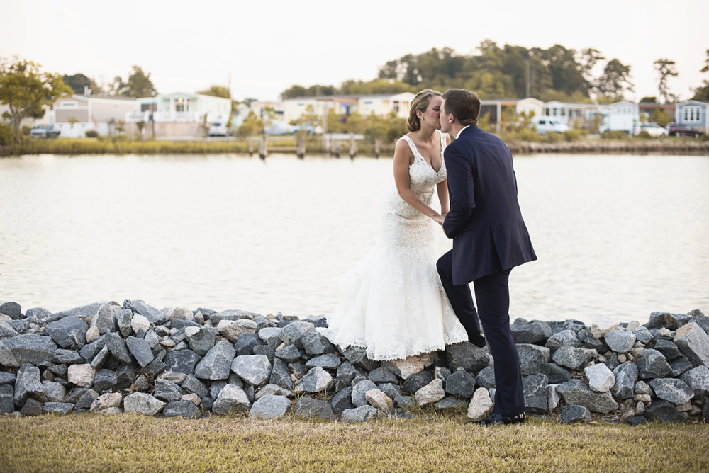 Nautical Navy Virginia Wedding | Navy Blue Wedding Colors | Sunset Bride and Groom Portraits