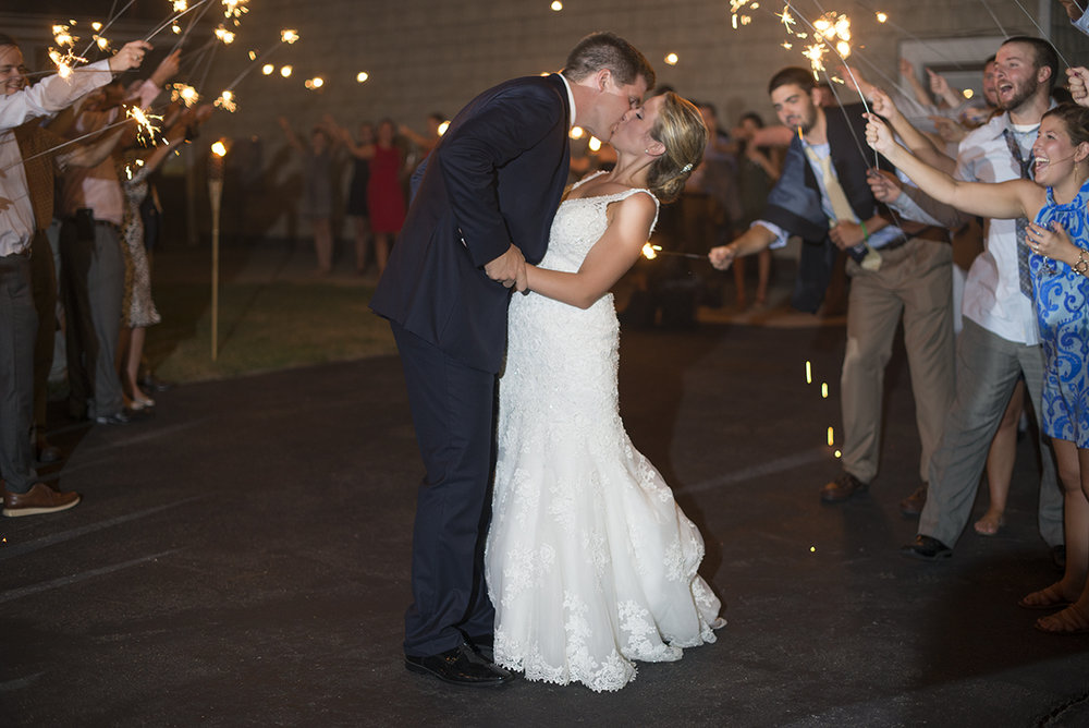 Nautical Navy Virginia Wedding | Navy Blue Wedding Colors | Bride and groom sparkler exit