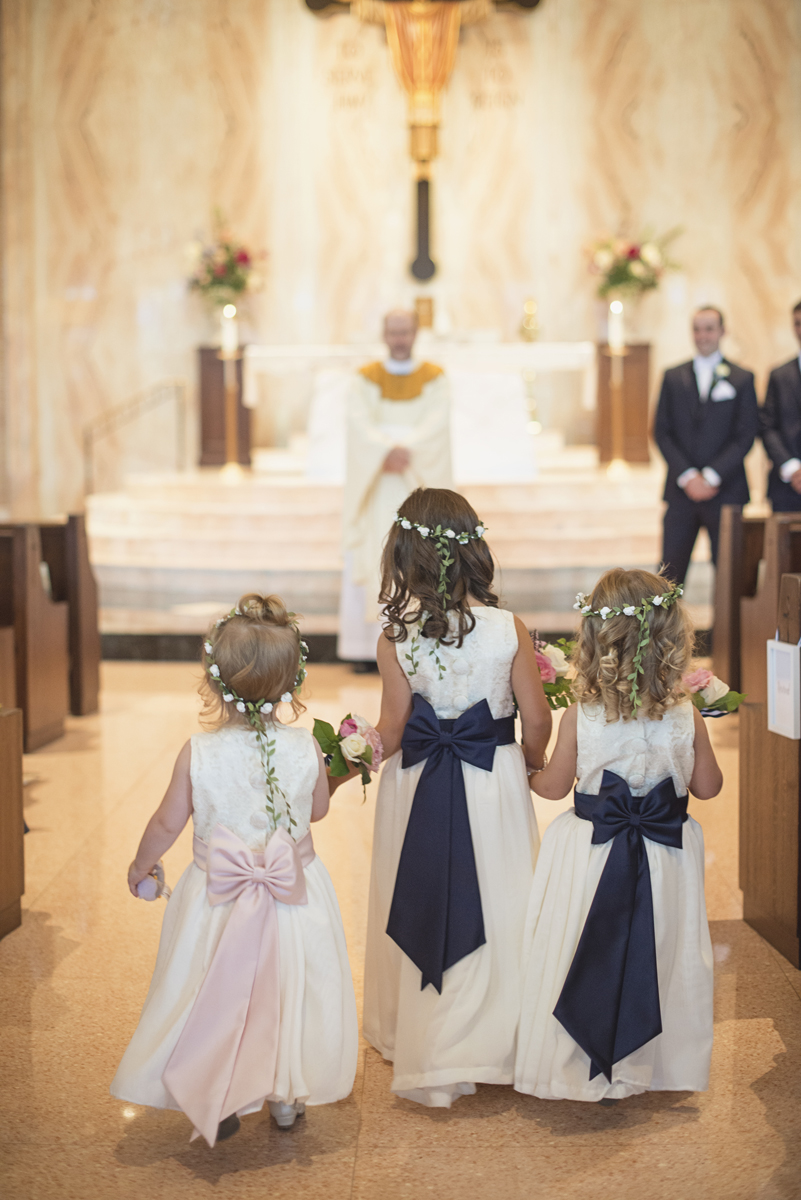Elegant Gray, Navy, and White Wedding | The Old Mill at Rose Valley Pennsylvania Wedding | Flower girls with floral crowns