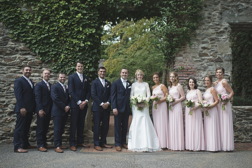 Elegant Gray, Navy, and White Wedding | The Old Mill at Rose Valley Pennsylvania Wedding | Blush and navy bridal party