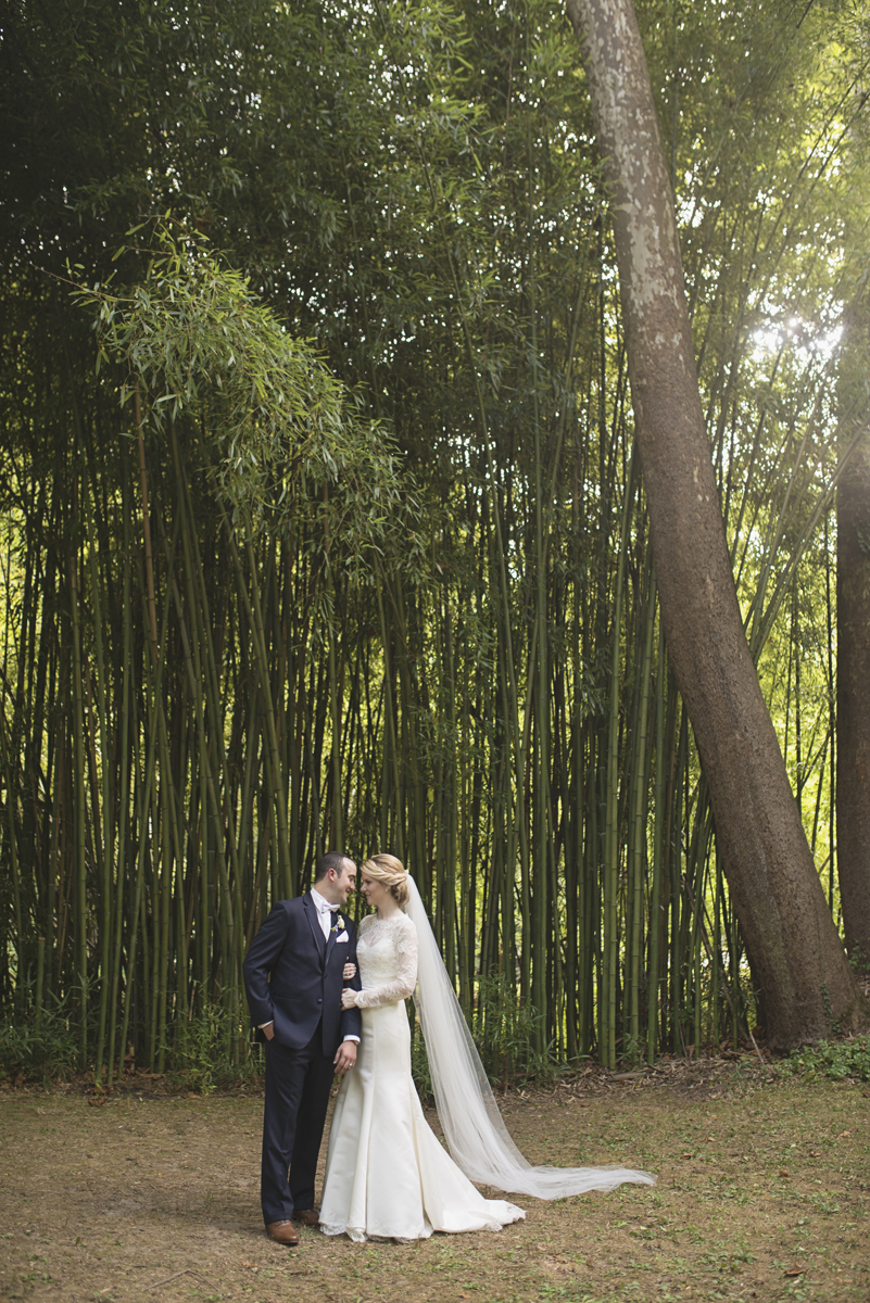 Elegant Gray, Navy, and White Wedding | The Old Mill at Rose Valley Pennsylvania Wedding | Bride and groom portraits in a bamboo forest