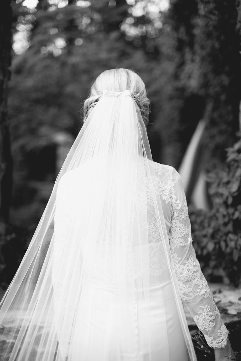 Elegant Gray, Navy, and White Wedding | The Old Mill at Rose Valley Pennsylvania Wedding | Bridal portraits with cathedral veil