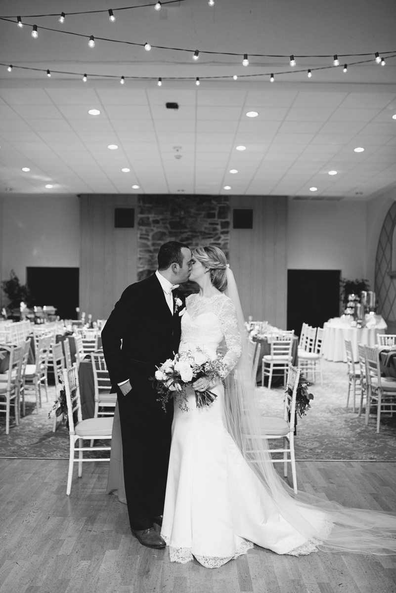 Elegant Gray, Navy, and White Wedding | The Old Mill at Rose Valley Pennsylvania Wedding | Bride and groom portraits in empty ballroom