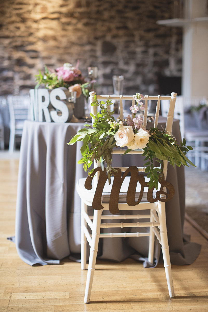 Elegant Gray, Navy, and White Wedding | The Old Mill at Rose Valley Pennsylvania Wedding | White chiavari chair with Mrs sign