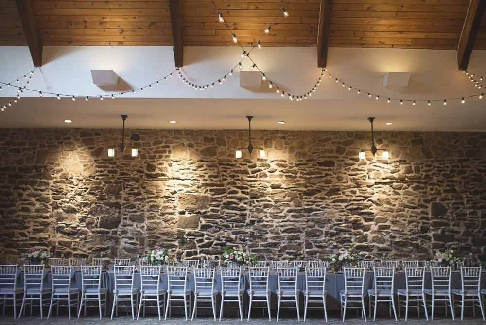 Elegant Gray, Navy, and White Wedding | The Old Mill at Rose Valley Pennsylvania Wedding | Elegant gray and white wedding reception with white chiavari chairs