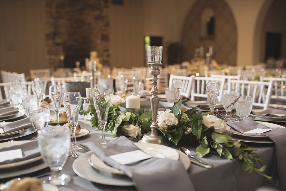 Elegant Gray, Navy, and White Wedding | The Old Mill at Rose Valley Pennsylvania Wedding | Elegant gray and white wedding reception