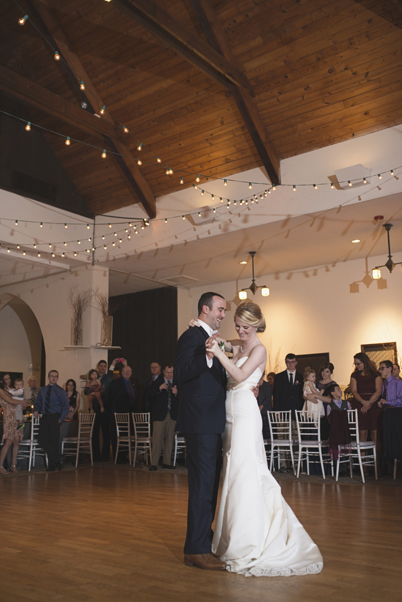Elegant Gray, Navy, and White Wedding | The Old Mill at Rose Valley Pennsylvania Wedding | Bride and groom first dance