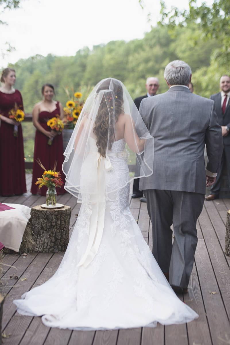 Adventures on the Gorge Destination Wedding | Maroon + Orange Wedding | Bride and father walking down the aisle