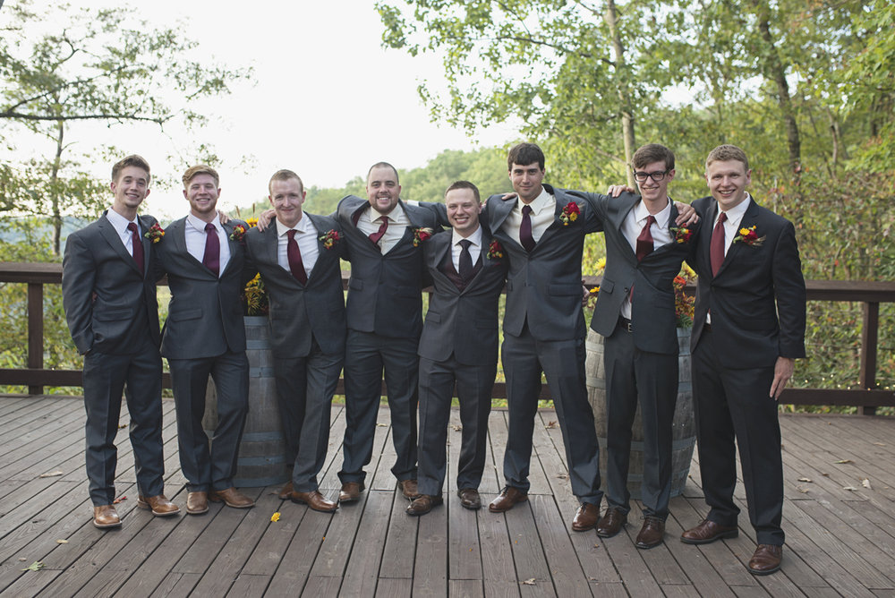 Adventures on the Gorge Destination Wedding | Maroon + Orange Wedding | Groomsmen portraits