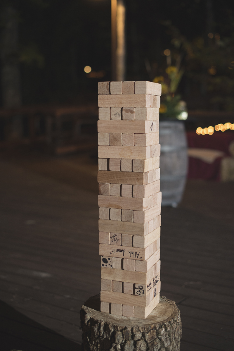 Adventures on the Gorge Destination Wedding | Maroon + Orange Wedding | Giant Jenga game