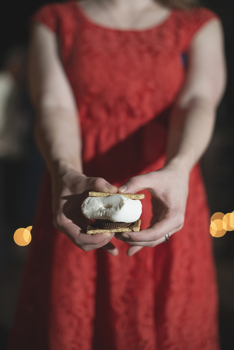 Adventures on the Gorge Destination Wedding | Maroon + Orange Wedding | Wedding reception s'mores bar
