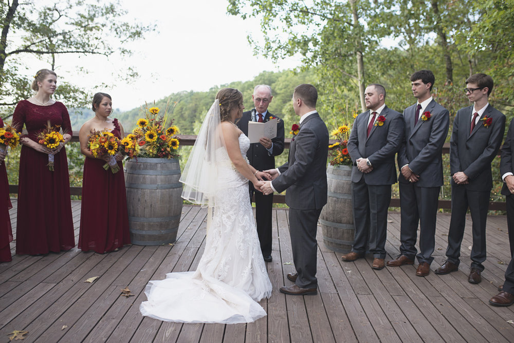 Adventures on the Gorge Destination Wedding | Maroon + Orange Wedding | Rustic wedding ceremony
