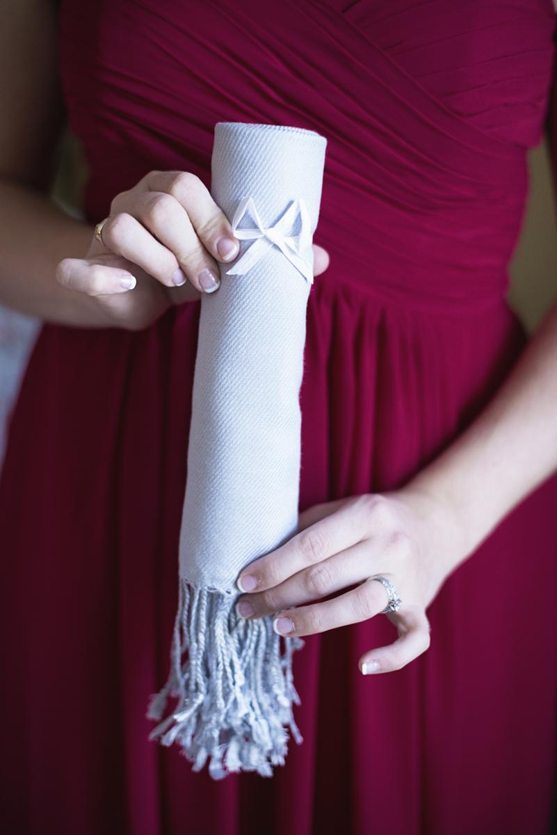 Orange and Maroon Virginia Tech Fall Wedding | Zion Springs Bed + Breakfast | Gray wedding shawl