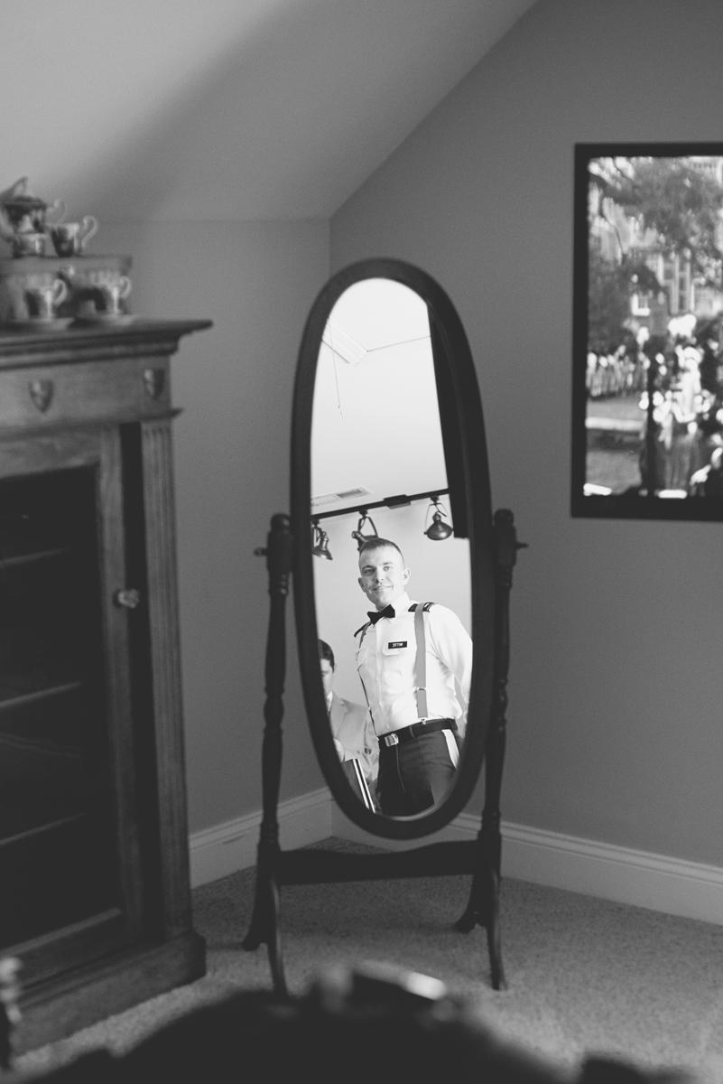 Orange and Maroon Virginia Tech Fall Wedding | Zion Springs Bed + Breakfast | Groom getting ready
