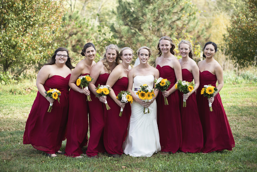 Orange and Maroon Virginia Tech Fall Wedding | Zion Springs Bed + Breakfast | Maroon bridesmaids dresses