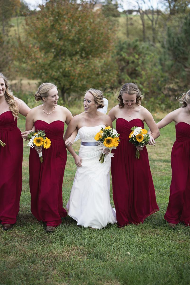 Orange and Maroon Virginia Tech Fall Wedding | Zion Springs Bed + Breakfast | Maroon bridesmaid dresses