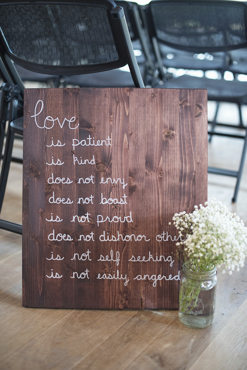 Orange and Maroon Virginia Tech Fall Wedding | Zion Springs Bed + Breakfast | 1 Corinthians 13 Wedding Sign