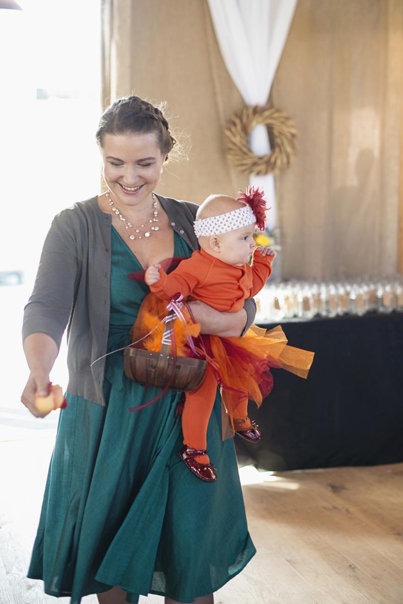 Orange and Maroon Virginia Tech Fall Wedding | Zion Springs Bed + Breakfast | Hokie flower girl