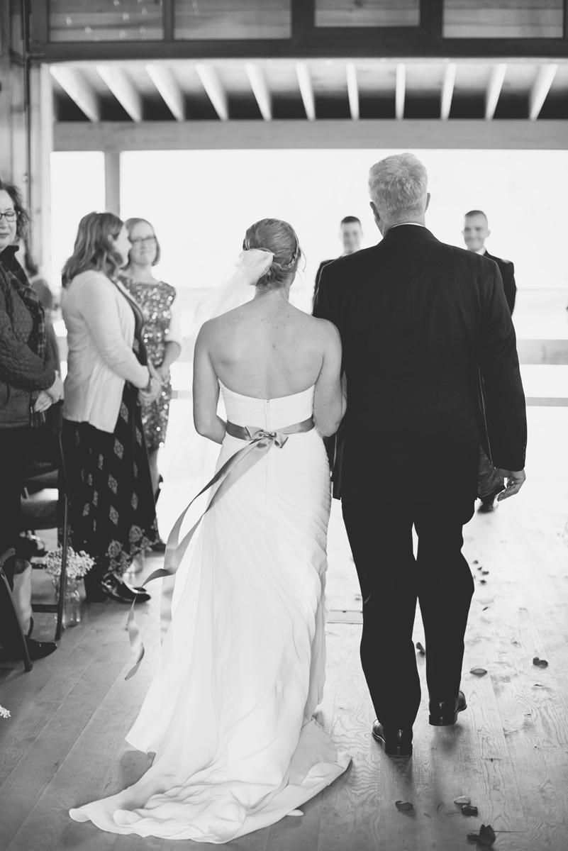 Orange and Maroon Virginia Tech Fall Wedding | Zion Springs Bed + Breakfast | Bride walking down aisle