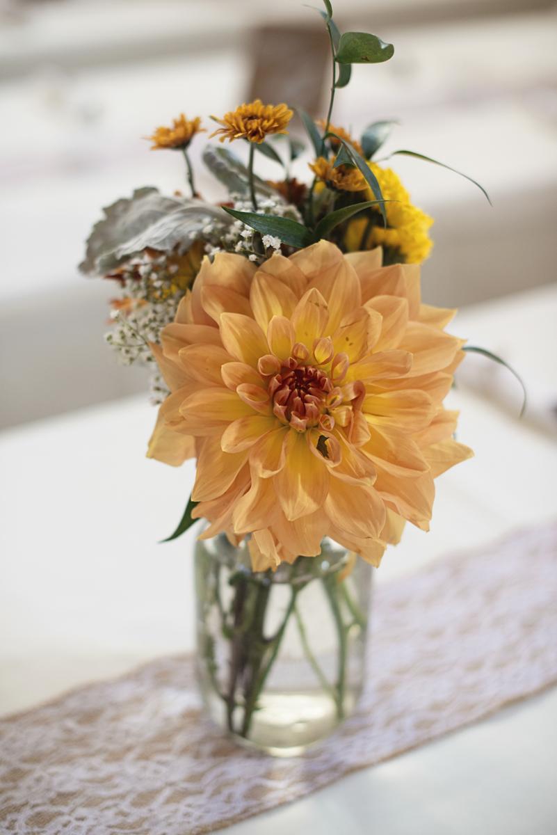 Orange and Maroon Virginia Tech Fall Wedding | Zion Springs Bed + Breakfast | Dahlia reception centerpiece