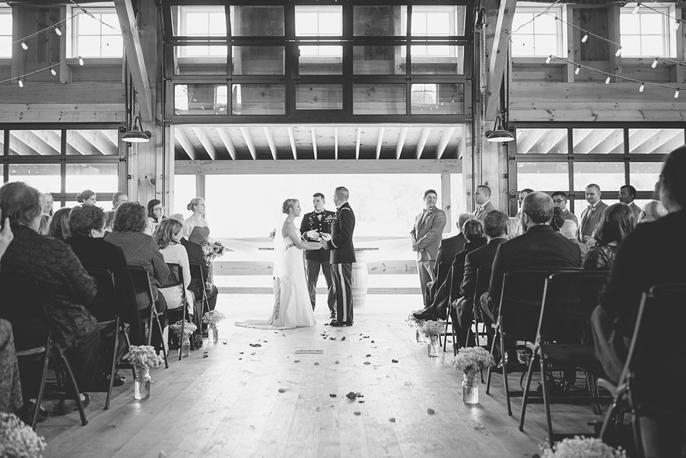 Orange and Maroon Virginia Tech Fall Wedding | Zion Springs Bed + Breakfast | Barn wedding ceremony