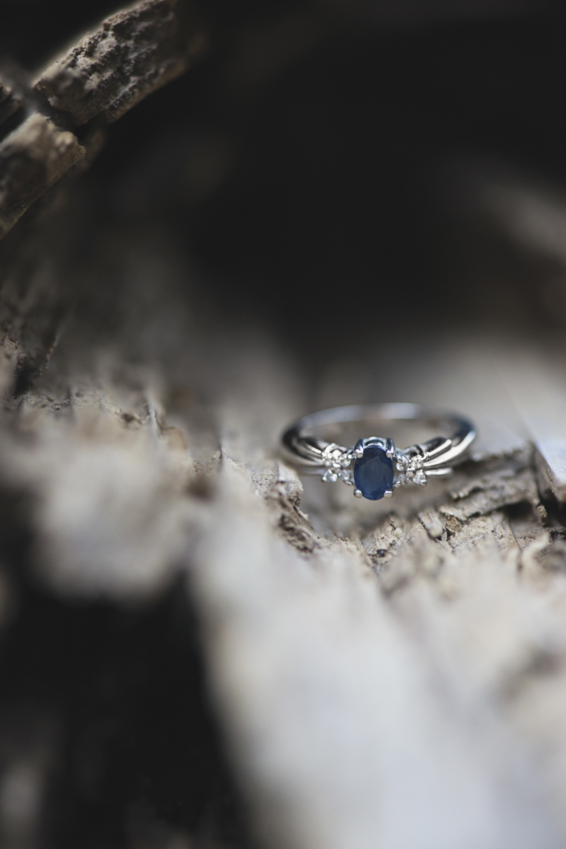 Adventurous Natural Bridge Engagement Session | Blue Sapphire Engagement Ring