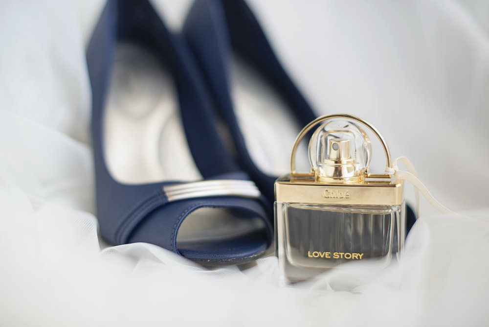 Blue and Silver Waterside Wedding | Virginia Beach Wedding | Chloe perfume and blue bridal shoes